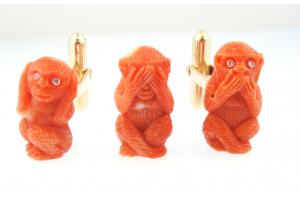 Hear See Speak No Evil Cufflink and Tie Pin Set