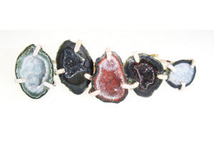 Hand Set Geodes with Pave Prongs