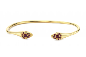 14kt Lucky Snake Cuff with Rubies
