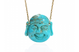 Carved Turquoise Happy Buddha