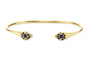 14kt Lucky Snake Cuff with Sapphires